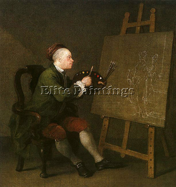 WILLIAM HOGARTH SELF PORTRAIT AT THE EASEL ARTIST PAINTING REPRODUCTION HANDMADE