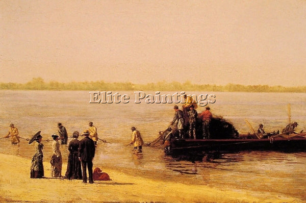 THOMAS EAKINS SHAD FISHING AT GLOUCESTER ON THE DELEWARE RIVER PAINTING HANDMADE