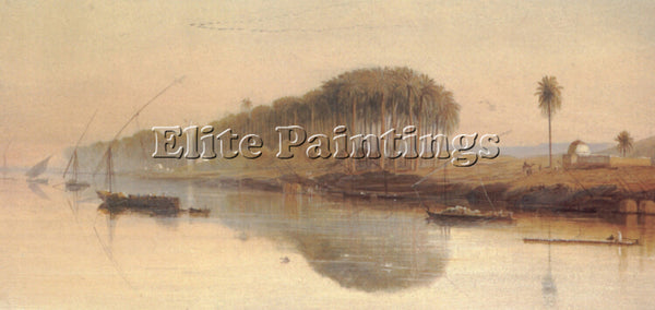 EDWARD LEAR SHEIKH ABADEH ON THE NILE ARTIST PAINTING REPRODUCTION HANDMADE OIL
