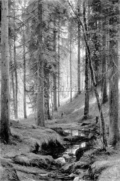 IVAN SHISHKIN STREAM BY A FOREST SLOPE ARTIST PAINTING REPRODUCTION HANDMADE OIL