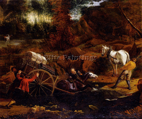 JAN SIBERECHTS FIGURES WITH A CART AND HORSES FORDING A STREAM PAINTING HANDMADE