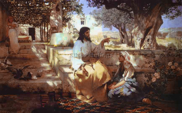 HENRYK HECTOR SIEMIRADZKI CHRIST IN THE HOUSE OF MARTHA AND MARY ARTIST PAINTING