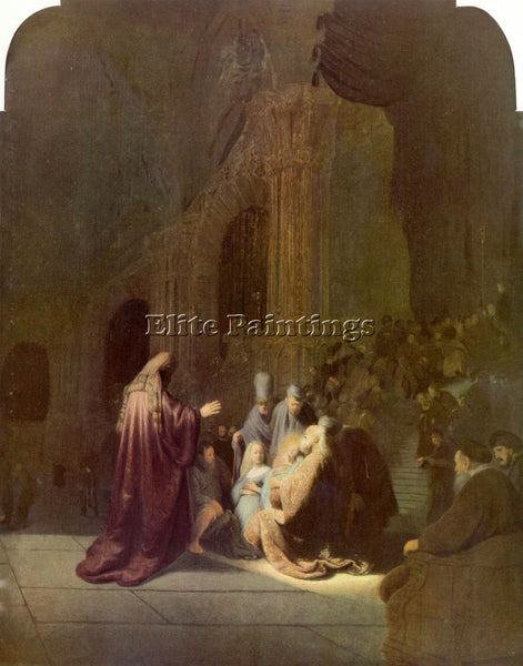 REMBRANDT SIMEON IN THE TEMPLE ARTIST PAINTING REPRODUCTION HANDMADE OIL CANVAS