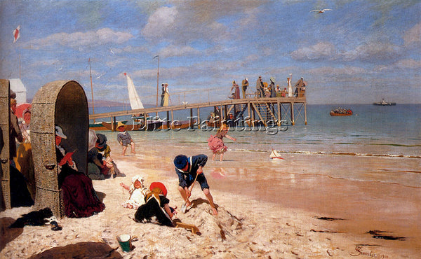 AUSTRIAN SIMMLER WILHELM A SUNNY DAY AT THE BEACH ARTIST PAINTING REPRODUCTION