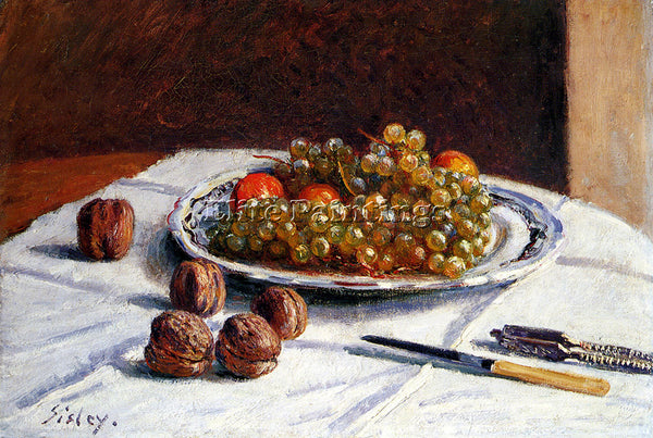 ALFRED SISLEY GRAPES AND WALNUTS ON A TABLE ARTIST PAINTING HANDMADE OIL CANVAS