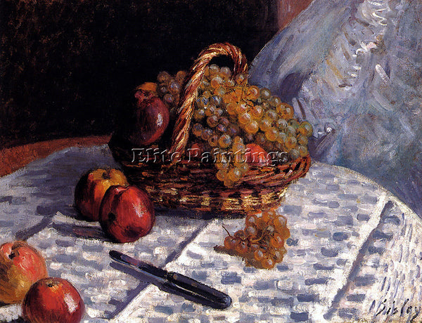ALFRED SISLEY STILL LIFE APPLES AND GRAPES ARTIST PAINTING REPRODUCTION HANDMADE
