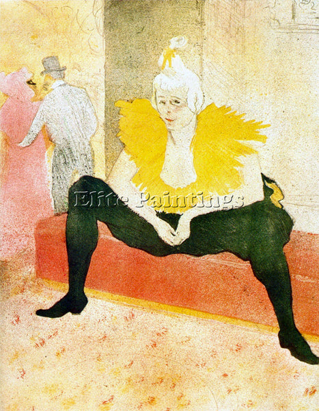 TOULOUSE-LAUTREC SITTING CLOWN ARTIST PAINTING REPRODUCTION HANDMADE OIL CANVAS