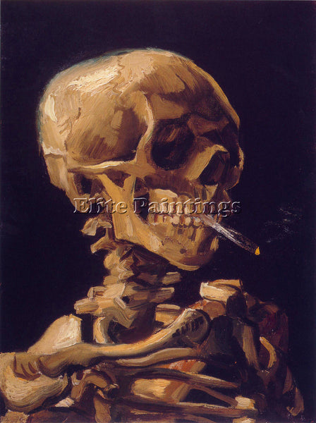 VAN GOGH SKULL WITH A BURNING CIGARETTE ARTIST PAINTING REPRODUCTION HANDMADE