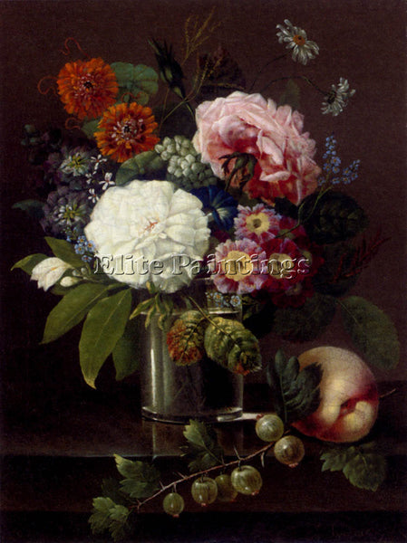 SMIRSCH ROSES MARIGOLDS DAISES PRIMROSES AND OTHER SUMMER BLOOMS IN GLASS CANVAS