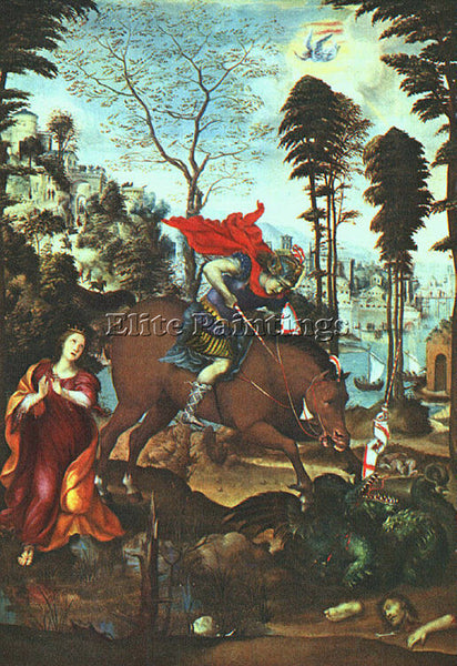 IL SODOMA ST GEORGE AND THE DRAGON ARTIST PAINTING REPRODUCTION HANDMADE OIL ART
