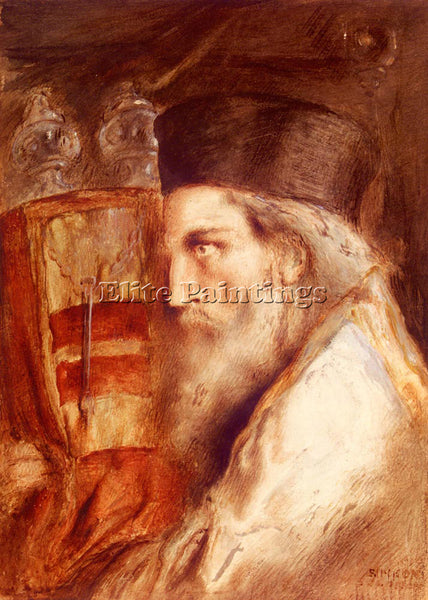 SIMEON SOLOMON A RABBI HOLDING THE TORAH ARTIST PAINTING REPRODUCTION HANDMADE
