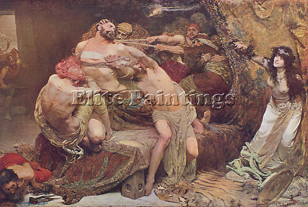 SOLOMON JOSEPH SAMSON AND DELILAH ARTIST PAINTING REPRODUCTION HANDMADE OIL DECO