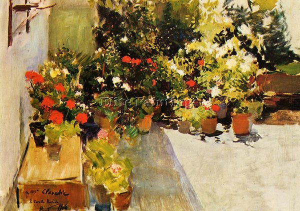 JOAQUIN SOROLLA Y BASTIDA A ROOFTOP WITH FLOWERS ARTIST PAINTING HANDMADE CANVAS