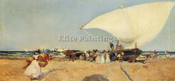 JOAQUIN SOROLLA Y BASTIDA ARRIVAL OF THE BOATS ARTIST PAINTING REPRODUCTION OIL