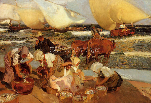 JOAQUIN SOROLLA Y BASTIDA BEACH AT VALENCIA AKA AFTERNOON SUN PAINTING HANDMADE
