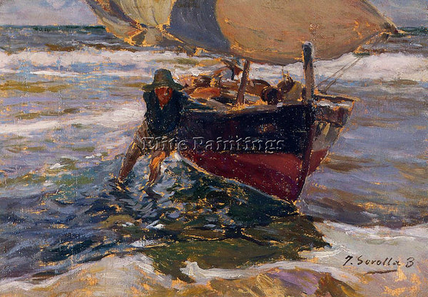 JOAQUIN SOROLLA Y BASTIDA BEACHING THE BOAT STUDY ARTIST PAINTING REPRODUCTION