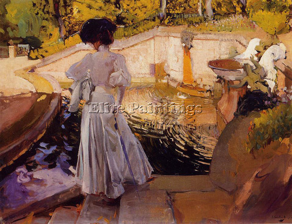 JOAQUIN SOROLLA Y BASTIDA MARIA WATCHING THE FISH GRANJA ARTIST PAINTING CANVAS