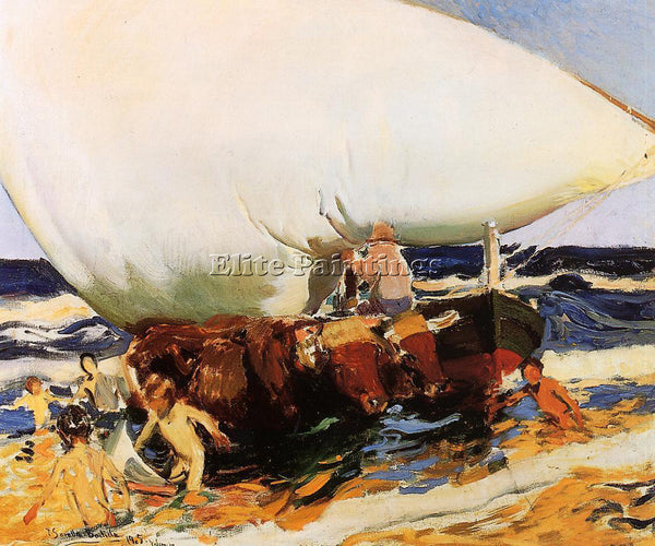 JOAQUIN SOROLLA Y BASTIDA ON THE BEACH VALENCIA ARTIST PAINTING REPRODUCTION OIL