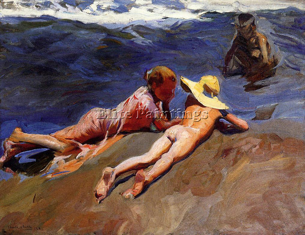 JOAQUIN SOROLLA Y BASTIDA ON THE SAND VALENCIA BEACH ARTIST PAINTING HANDMADE