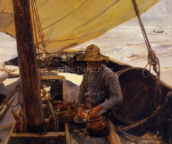 JOAQUIN SOROLLA Y BASTIDA PEELING POTATOES ARTIST PAINTING REPRODUCTION HANDMADE