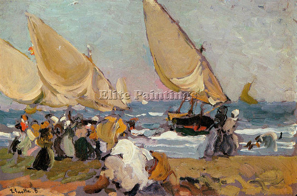 JOAQUIN SOROLLA Y BASTIDA SAILING VESSELS ON A BREEZY DAY VALENCIA REPRODUCTION