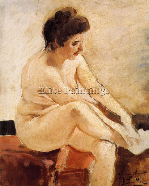 JOAQUIN SOROLLA Y BASTIDA SEATED NUDE ARTIST PAINTING REPRODUCTION HANDMADE OIL