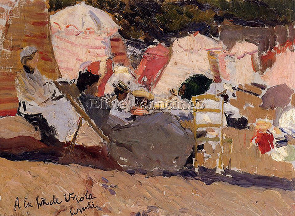 JOAQUIN SOROLLA Y BASTIDA THE BEACH AT BIARRITZ ARTIST PAINTING REPRODUCTION OIL