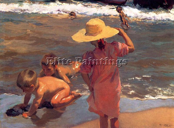 JOAQUIN SOROLLA Y BASTIDA THE YOUNG AMPHIBIANS ARTIST PAINTING REPRODUCTION OIL