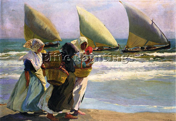SOROLLA Y BASTIDA JOAQUIN THREE SAILS ARTIST PAINTING REPRODUCTION HANDMADE OIL