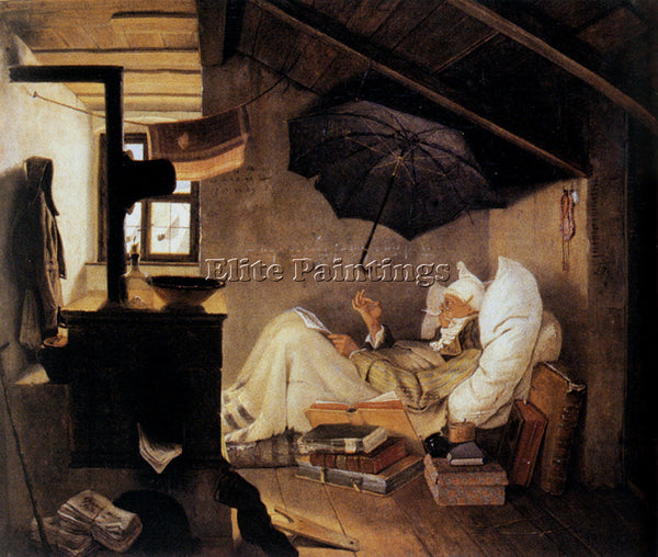 CARL SPITZWEG THE POOR POET ARTIST PAINTING REPRODUCTION HANDMADE OIL CANVAS ART