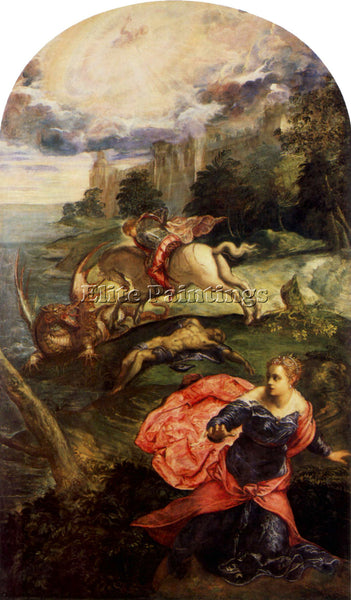 TINTORETTO ST GEORGE AND THE DRAGON ARTIST PAINTING REPRODUCTION HANDMADE OIL