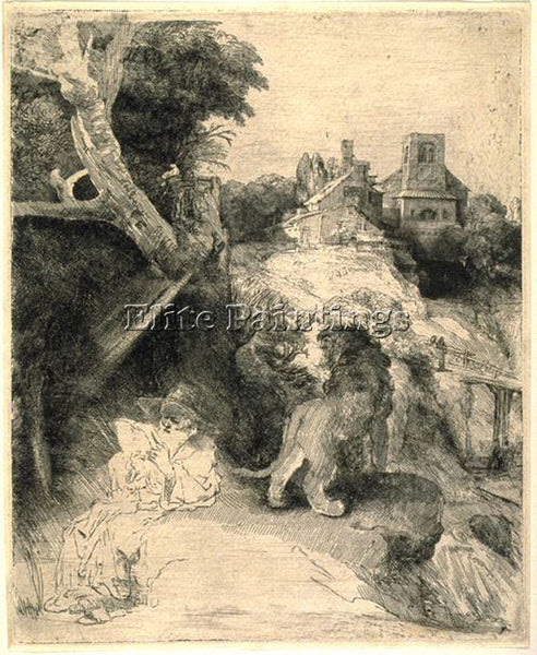REMBRANDT ST JEROME READING IN AN ITALIAN LANDSCAPE SIL ARTIST PAINTING HANDMADE