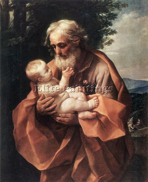 GUIDO RENI ST JOSEPH WITH THE INFANT JESUS 1 ARTIST PAINTING HANDMADE OIL CANVAS