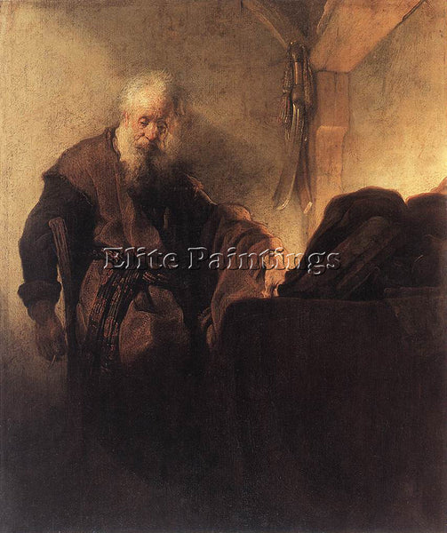 REMBRANDT ST PAUL AT HIS WRITING DESK ARTIST PAINTING REPRODUCTION HANDMADE OIL