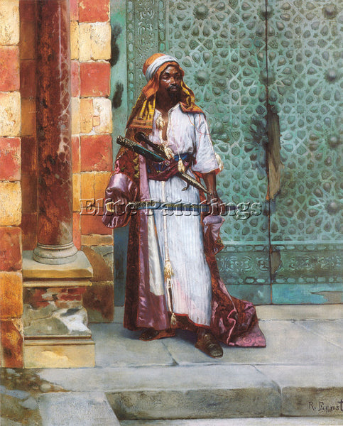 RUDOLF ERNST STANDING GUARD ARTIST PAINTING REPRODUCTION HANDMADE OIL CANVAS ART