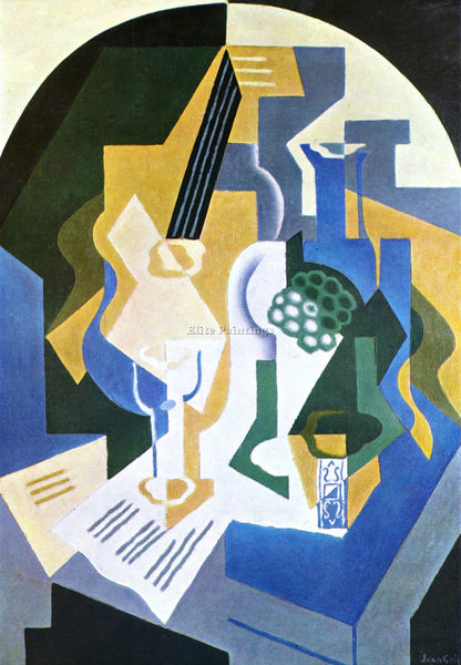 JUAN GRIS STILL LIFE WITH FRUIT BOWL AND MANDOLIN ARTIST PAINTING REPRODUCTION