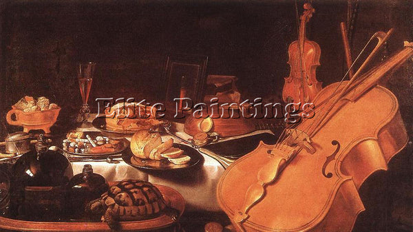 PIETER CLAESZ STILL LIFE WITH MUSICAL INSTRUMENTS ARTIST PAINTING REPRODUCTION