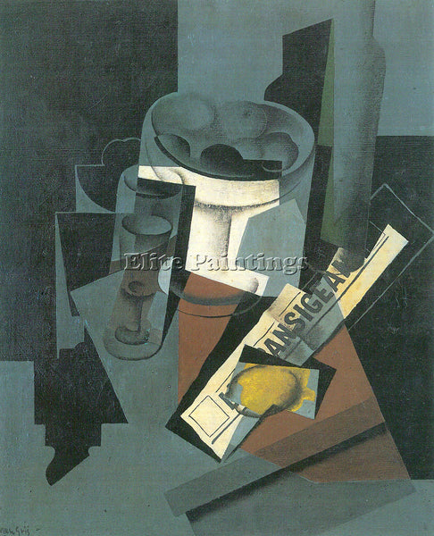JUAN GRIS STILL LIFE WITH NEWSPAPER ARTIST PAINTING REPRODUCTION HANDMADE OIL