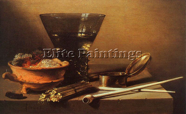 PIETER CLAESZ STILL LIFE WITH WINE AND SMOKING IMPLEMENTS ARTIST PAINTING CANVAS