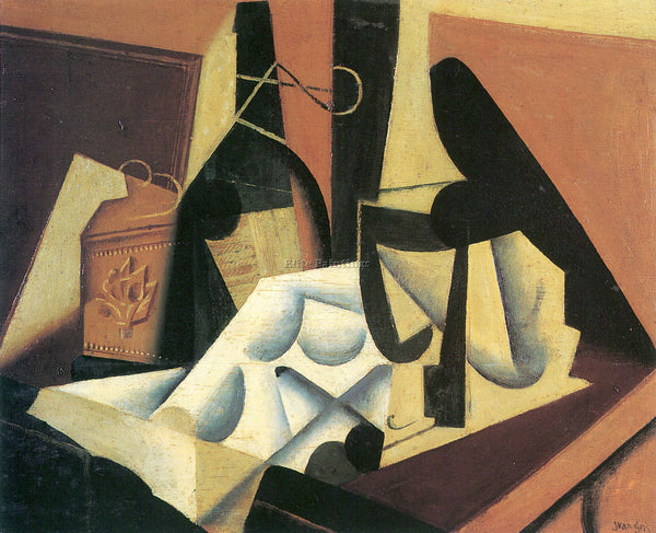 JUAN GRIS STILL LIFE WITH A WHITE TABLECLOTH ARTIST PAINTING HANDMADE OIL CANVAS