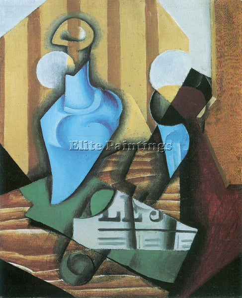 JUAN GRIS STILL LIFE WITH BOTTLE AND GLASS ARTIST PAINTING REPRODUCTION HANDMADE