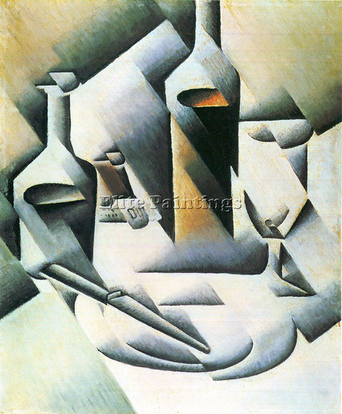 JUAN GRIS STILL LIFE WITH BOTTLES AND KNIVES ARTIST PAINTING HANDMADE OIL CANVAS