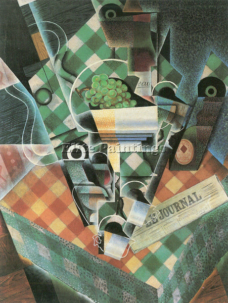 JUAN GRIS STILL LIFE WITH CHECKED TABLECLOTH ARTIST PAINTING HANDMADE OIL CANVAS