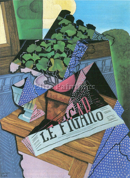 JUAN GRIS STILL LIFE WITH GERANIUMS ARTIST PAINTING REPRODUCTION HANDMADE OIL