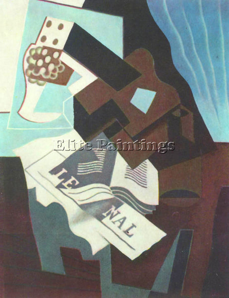 JUAN GRIS STILL LIFE WITH GUITAR BOOK AND NEWSPAPER  ARTIST PAINTING HANDMADE