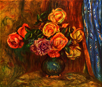 RENOIR STILL LIFE ROSES BEFORE A BLUE CURTAIN ARTIST PAINTING REPRODUCTION OIL