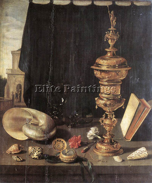 PIETER CLAESZ STILL LIFE WITH GREAT GOLDEN GOBLET ARTIST PAINTING REPRODUCTION