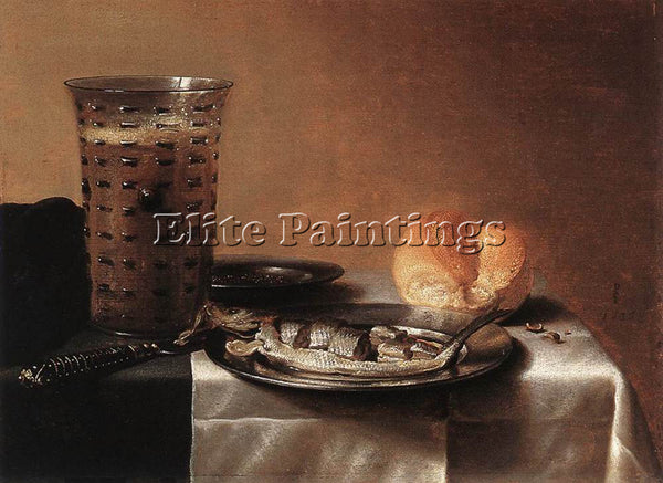 PIETER CLAESZ STILL LIFE WITH HERRING ARTIST PAINTING REPRODUCTION HANDMADE OIL