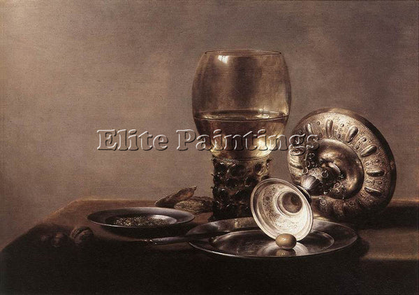 PIETER CLAESZ STILL LIFE WITH WINE GLASS AND SILVER BOWL ARTIST PAINTING CANVAS