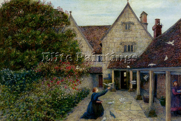 MARIA SPARTALI STILLMAN FEEDING DOVES AT KELMSCOTT MANOR OXFORDSHIRE OIL CANVAS